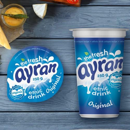 Ethnic drink Ayran, packaging design