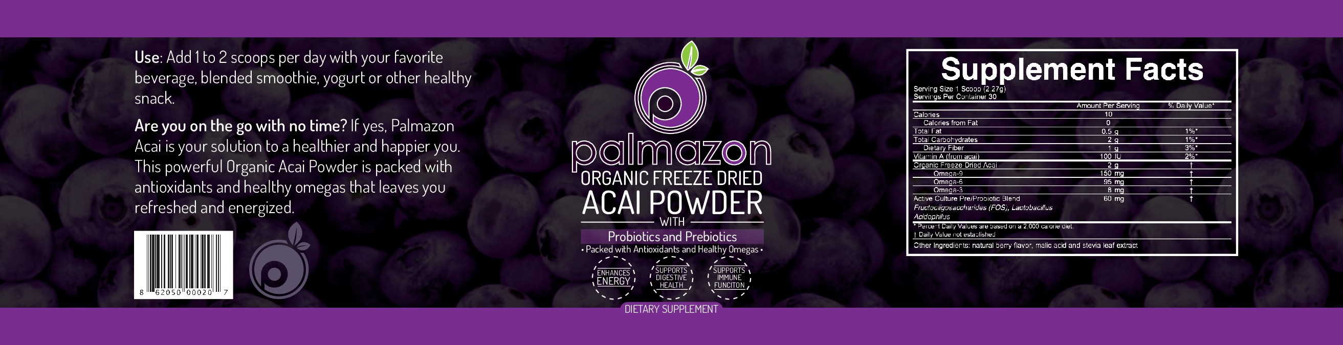 Creating a Product Label for Palmazon your Organic Acai Powder