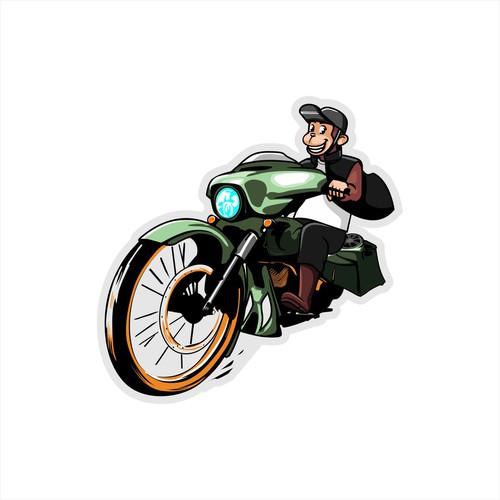 monkey illustration on the motorcycle.