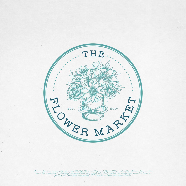 the flower market retro flower feminine logo