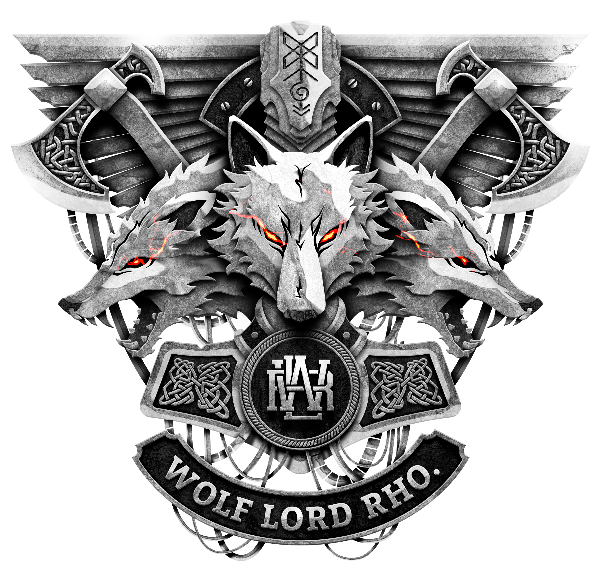 Iconic Wolf Lord Rho Logo Design Needed
