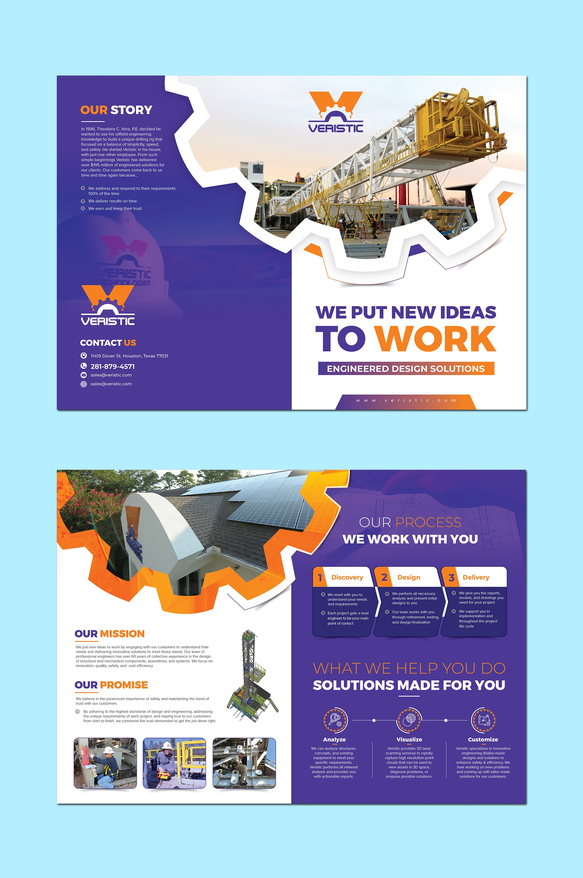 Create our new marketing brochure for a modern engineering company