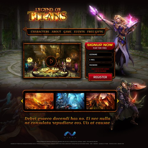 Landing page for an online MMO game.