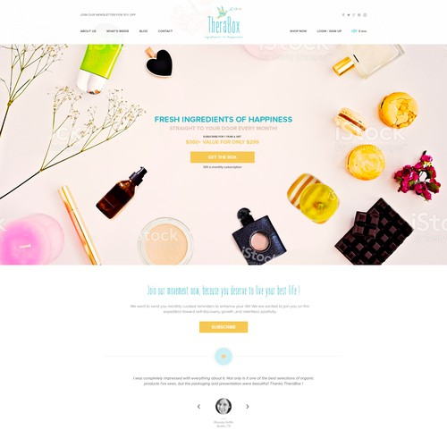 Homepage design for Monthly Wellness Subsription box