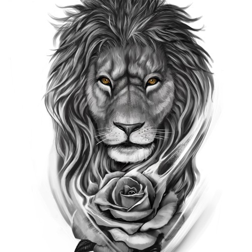 lionrose tattoo design