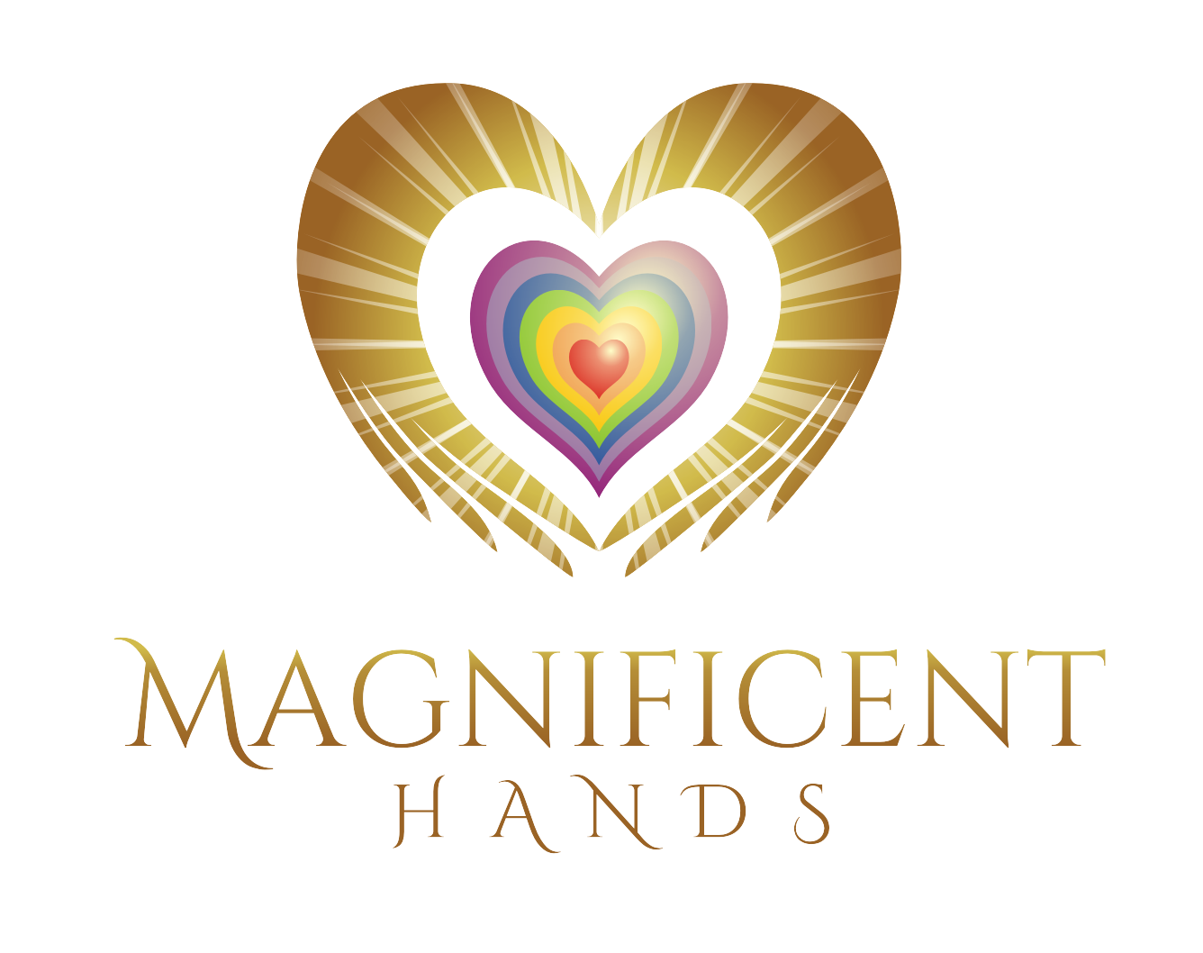 Logo that conveys simple healing hands with light illumination and flower or triangle or heart