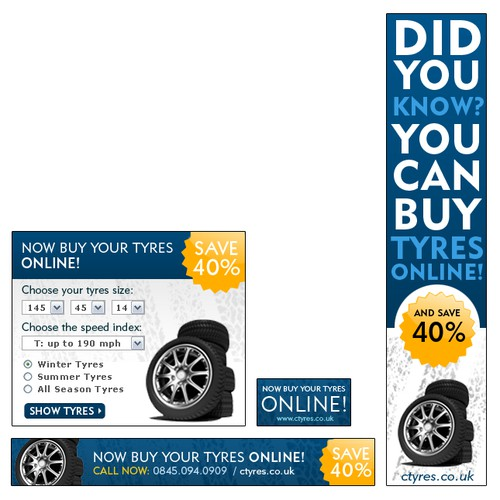 Banner Designs For Online TYRE RETAILER