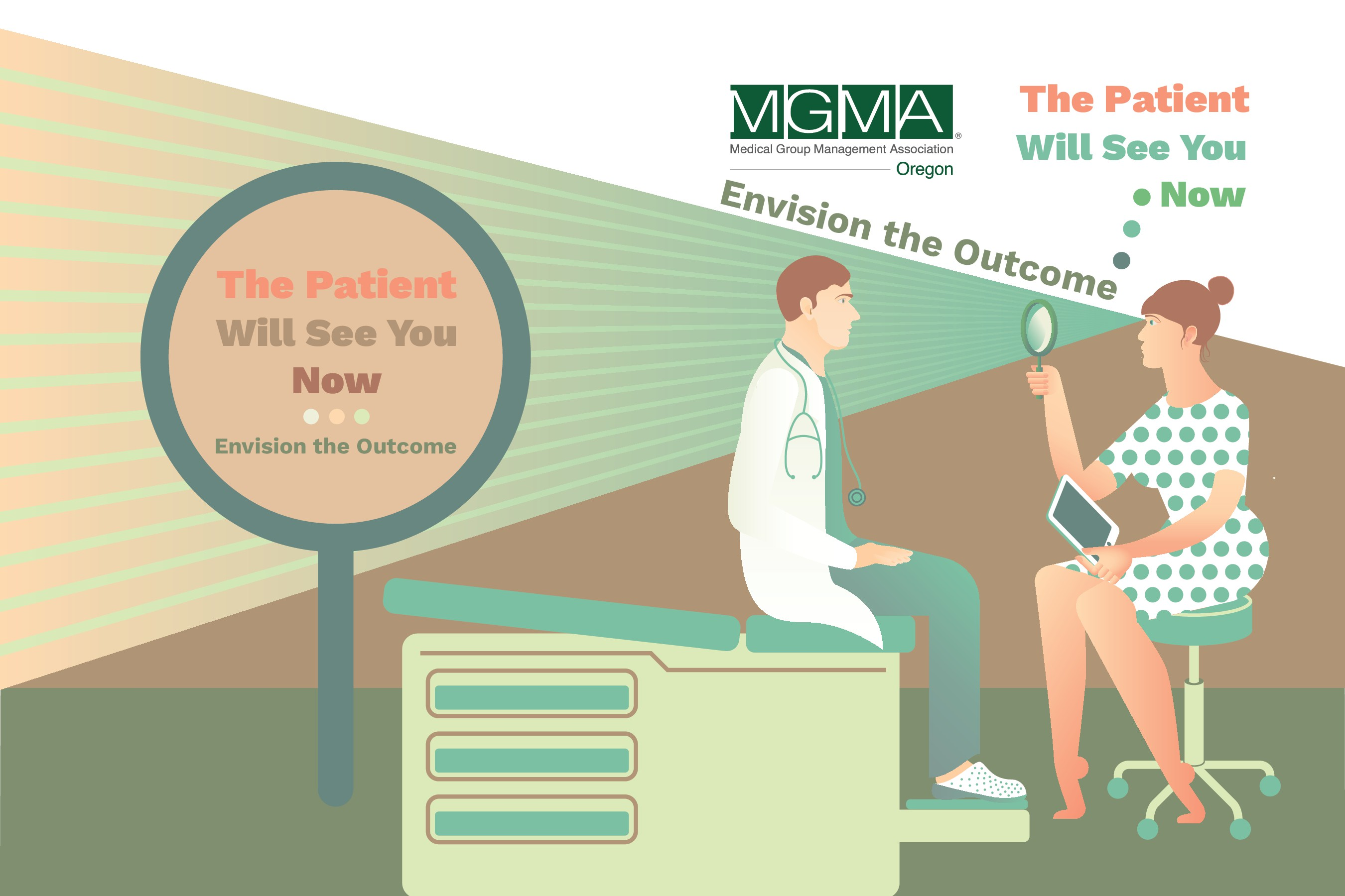 Create the conference meeting graphic illustration for Oregon Medical Group Managers Association