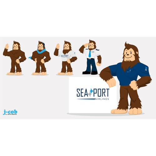 Sasquatch Illustration for SeaPort Airlines