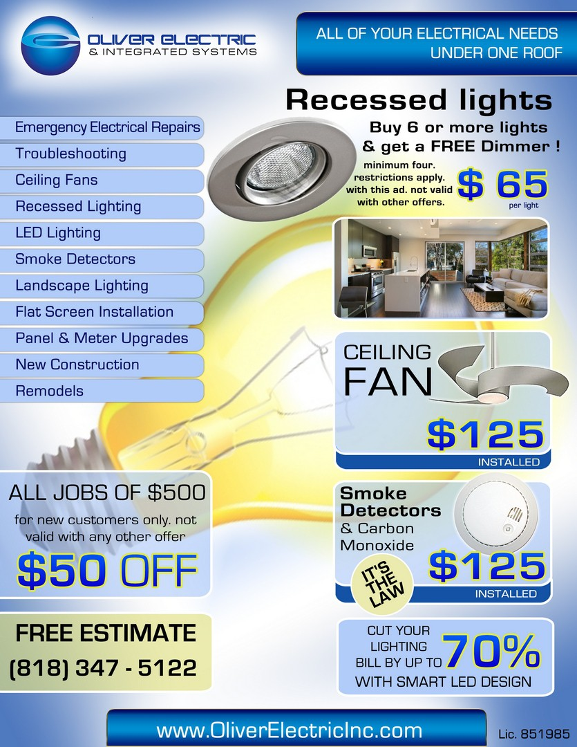 Help Oliver Electric & Integrated Systems with a new postcard or flyer