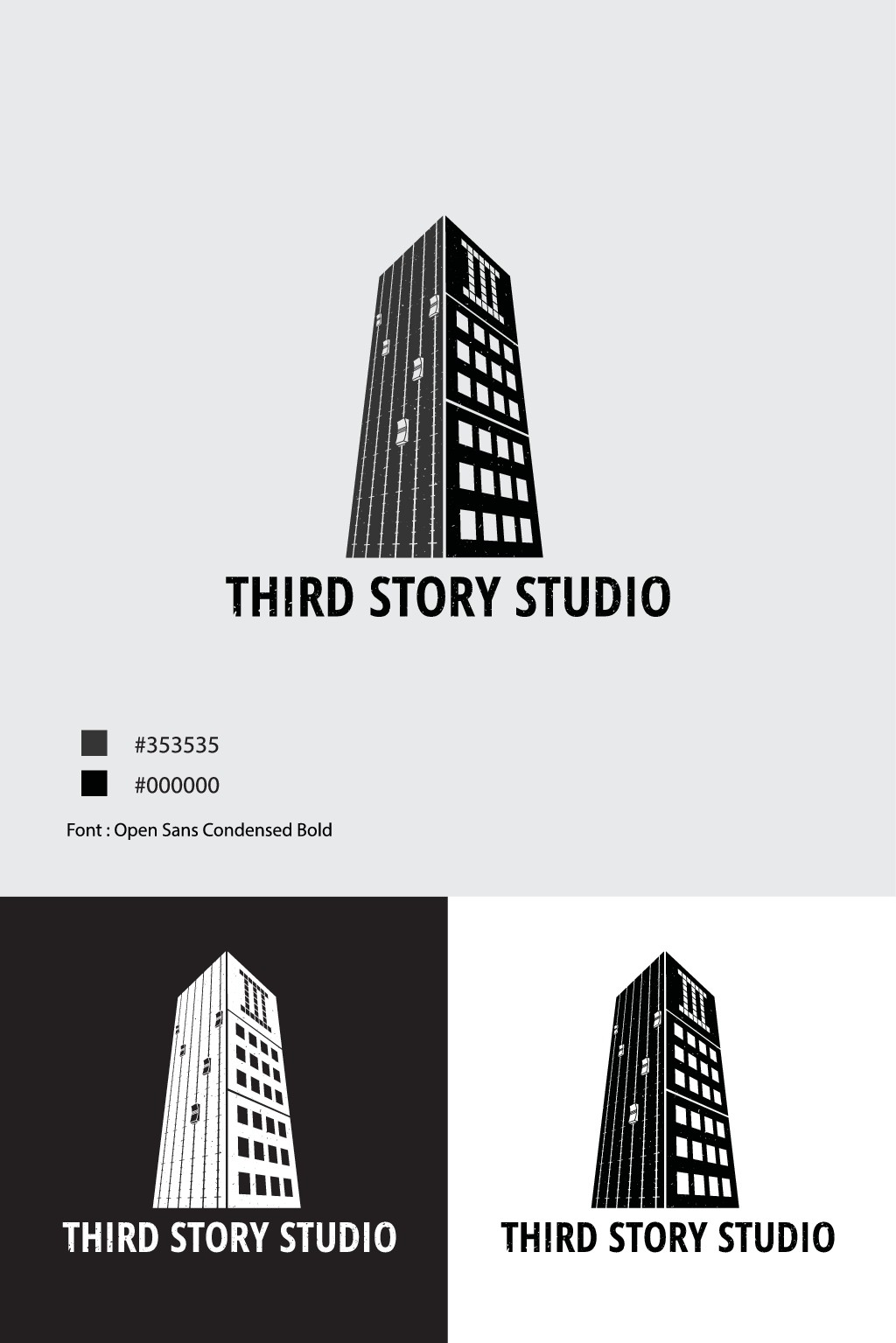 Need a 2 color flat logo for a recording studio located on the third story