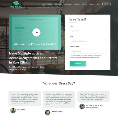 Landing page for cloud-based software