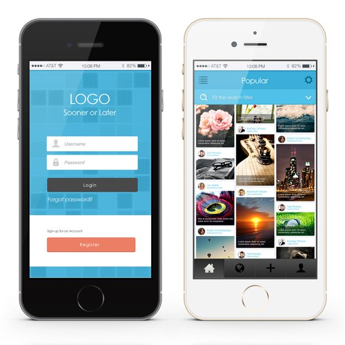 Enhance a social mobile app design that lets users find and share pictures