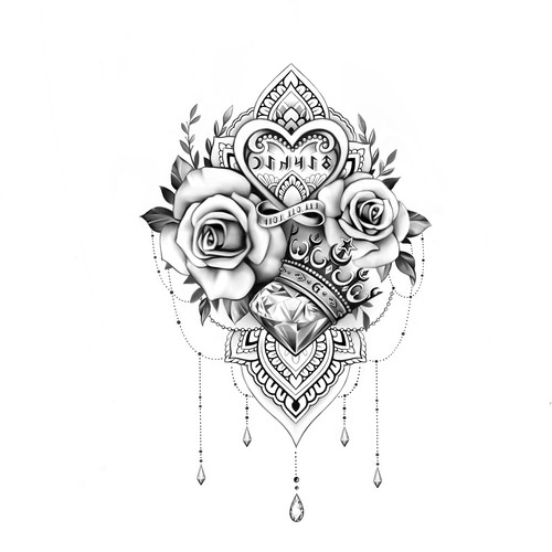 Feminine hip tattoo design