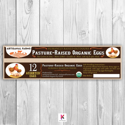 Packaging Label for Organic Eggs
