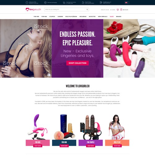 Homepage design for e-commerce business selling adult accessories and lingerie
