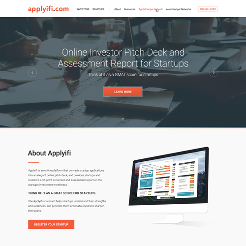 Landing page design for Applyifi.com