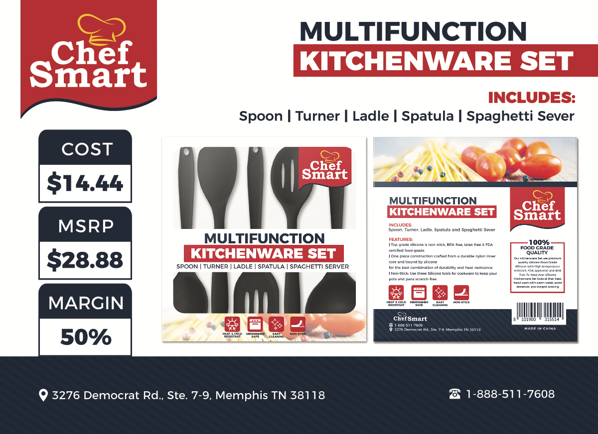 Packaging and Sale Sheet for Kitchenware Set