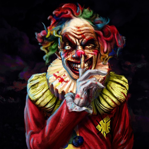 Scary clown concept for a Haunted Park
