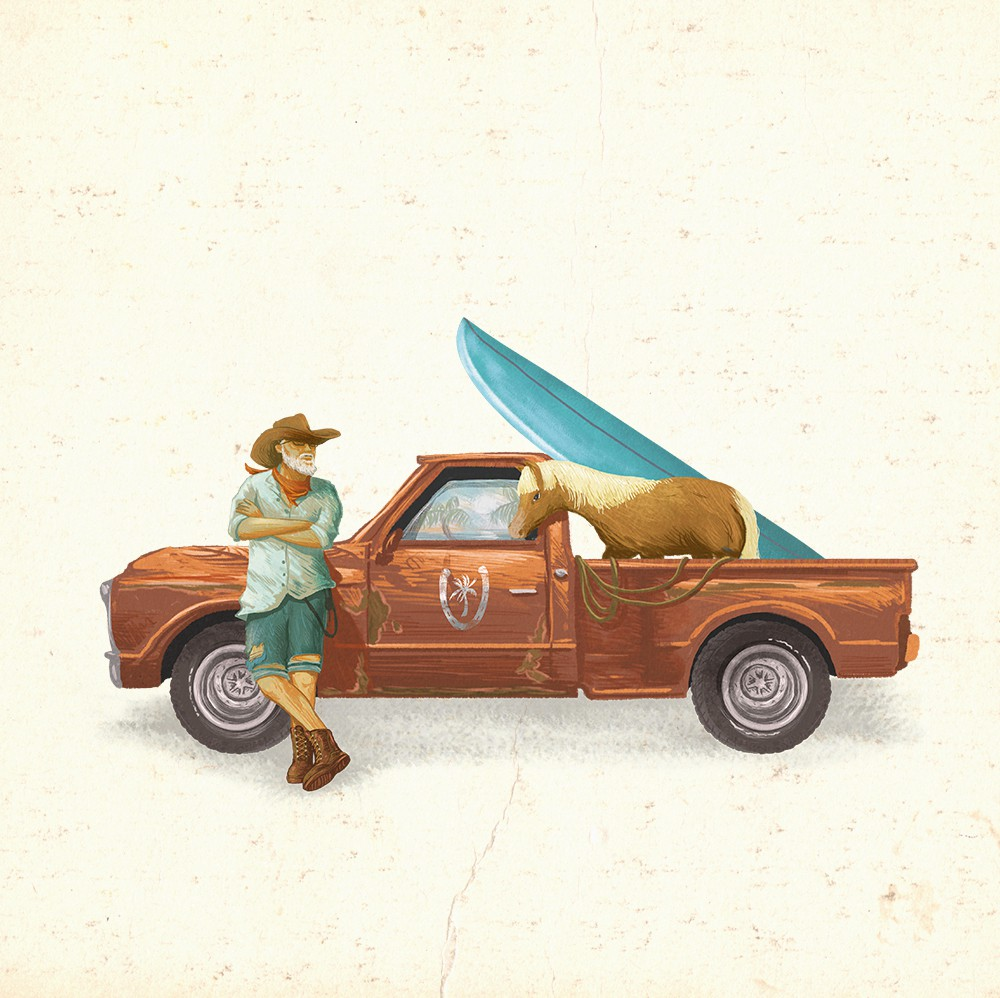A fun cowboy character to represent a Coastal Cowboy for our new rum!