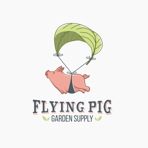 Clever logo for Flying Pig Garden Supply