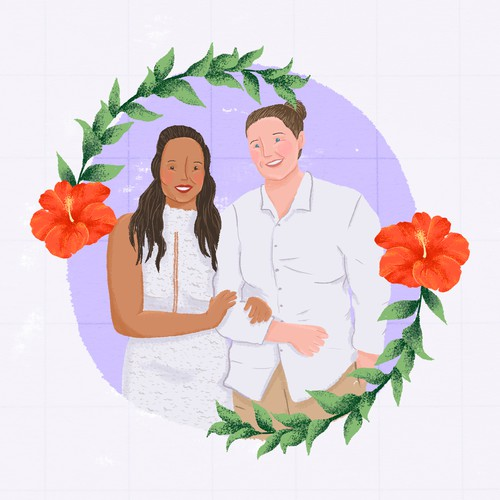 Couple portrait illustration