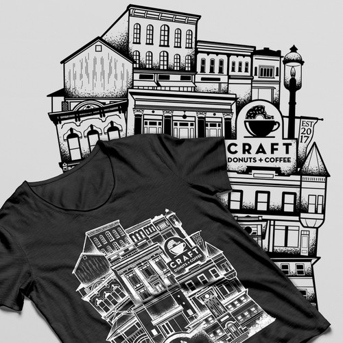 In contest Create a cool vintage t-shirt design for Craft Donuts + Coffee