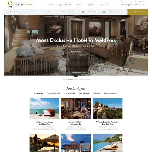 Luxury travel website