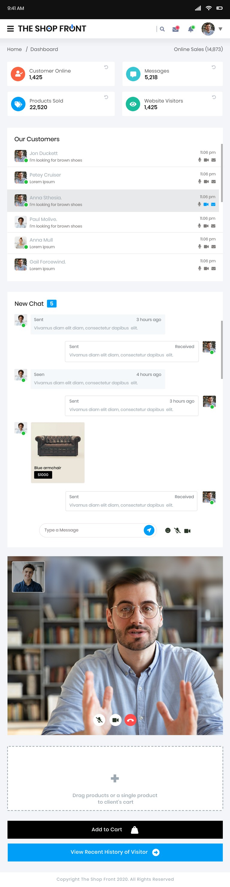 Create peer to peer (p2p) online shopping experience with videochat