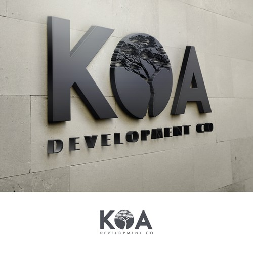Logo for Development Co. that uses Koa Wood