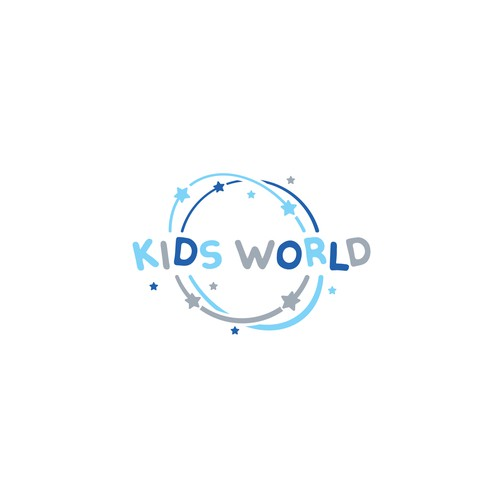 Fun and simple logo for Kids World