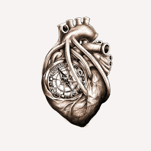Greyscale Drawing of Da Vinci Anatomical Heart w/ Nautical Compass for Tattoo
