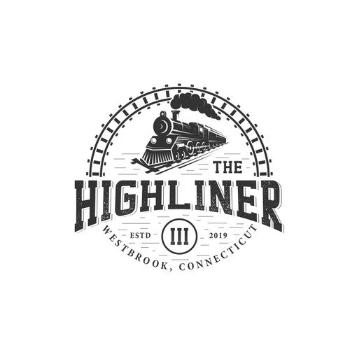 Design a vintage train logo for a bar on the shore, The Highliner III