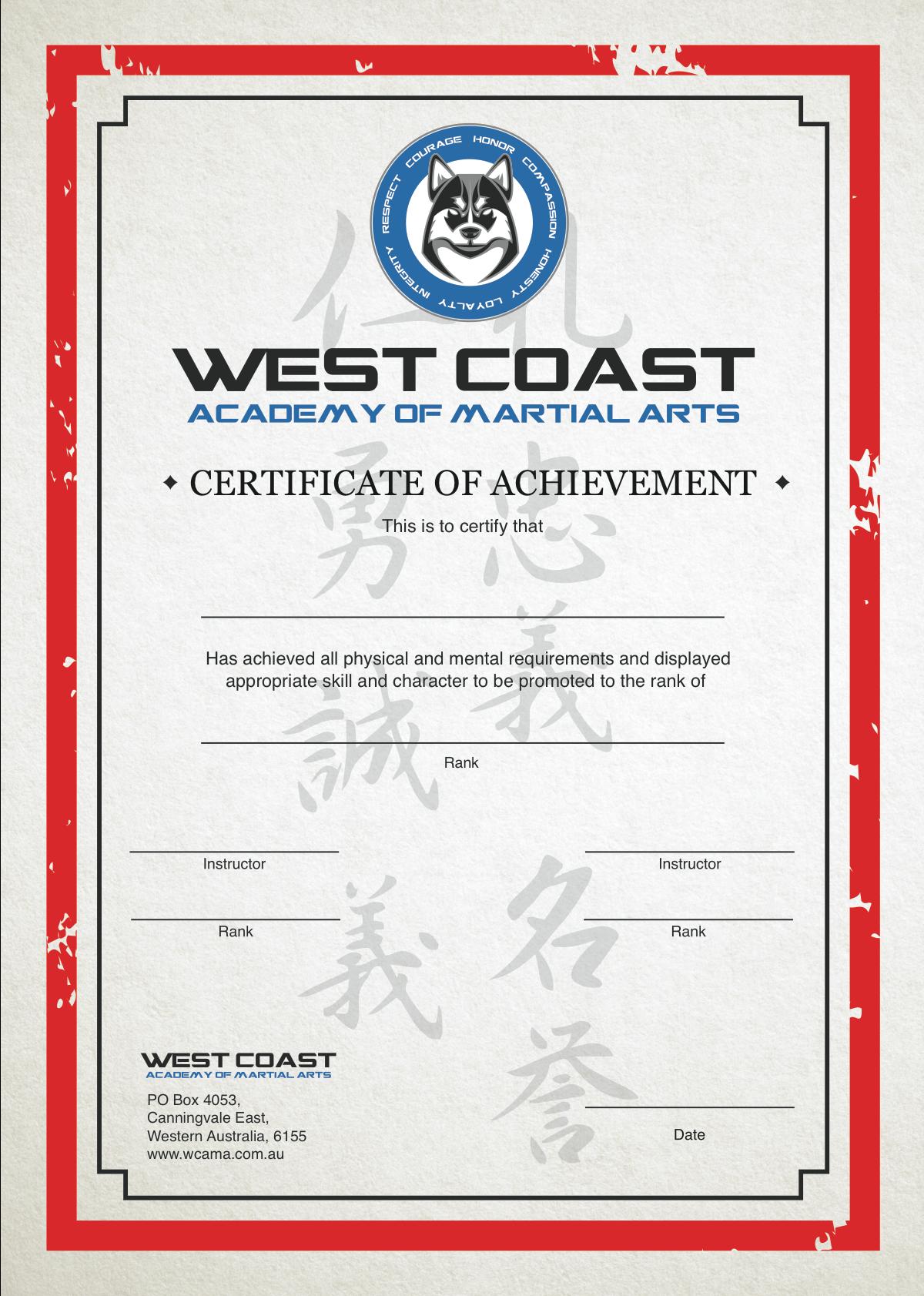 WCAMA Certificate design