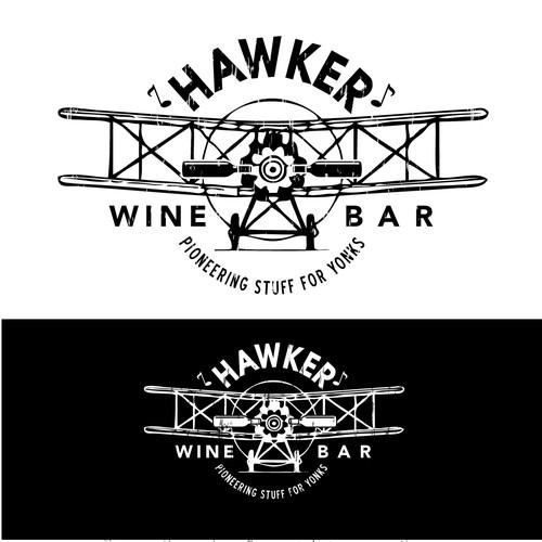 Modern vintage wine bar logo