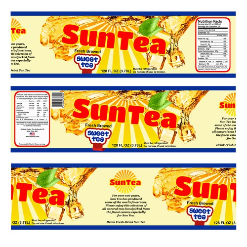We are designing a Iced Tea (Retro Feel) product to be sold in National Retail Grocery Stores in The USA