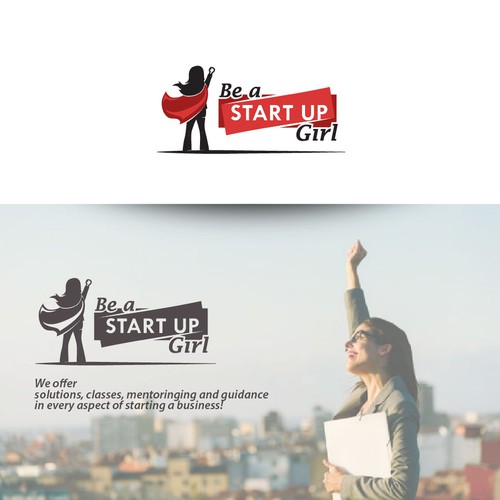 "Superhero ""Start Up Girl"" logo design"
