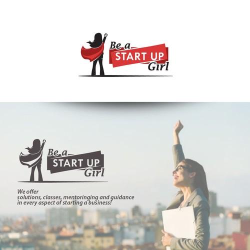 """Superhero """"Start Up Girl"""" logo design"""