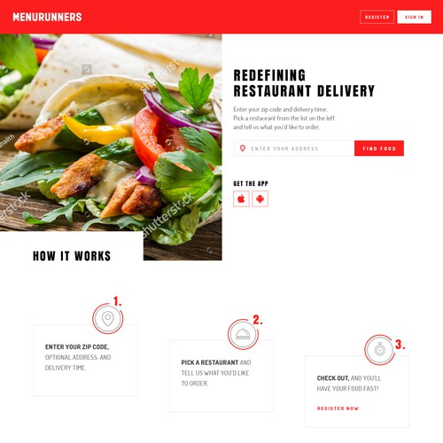 Homepage for food delivery service