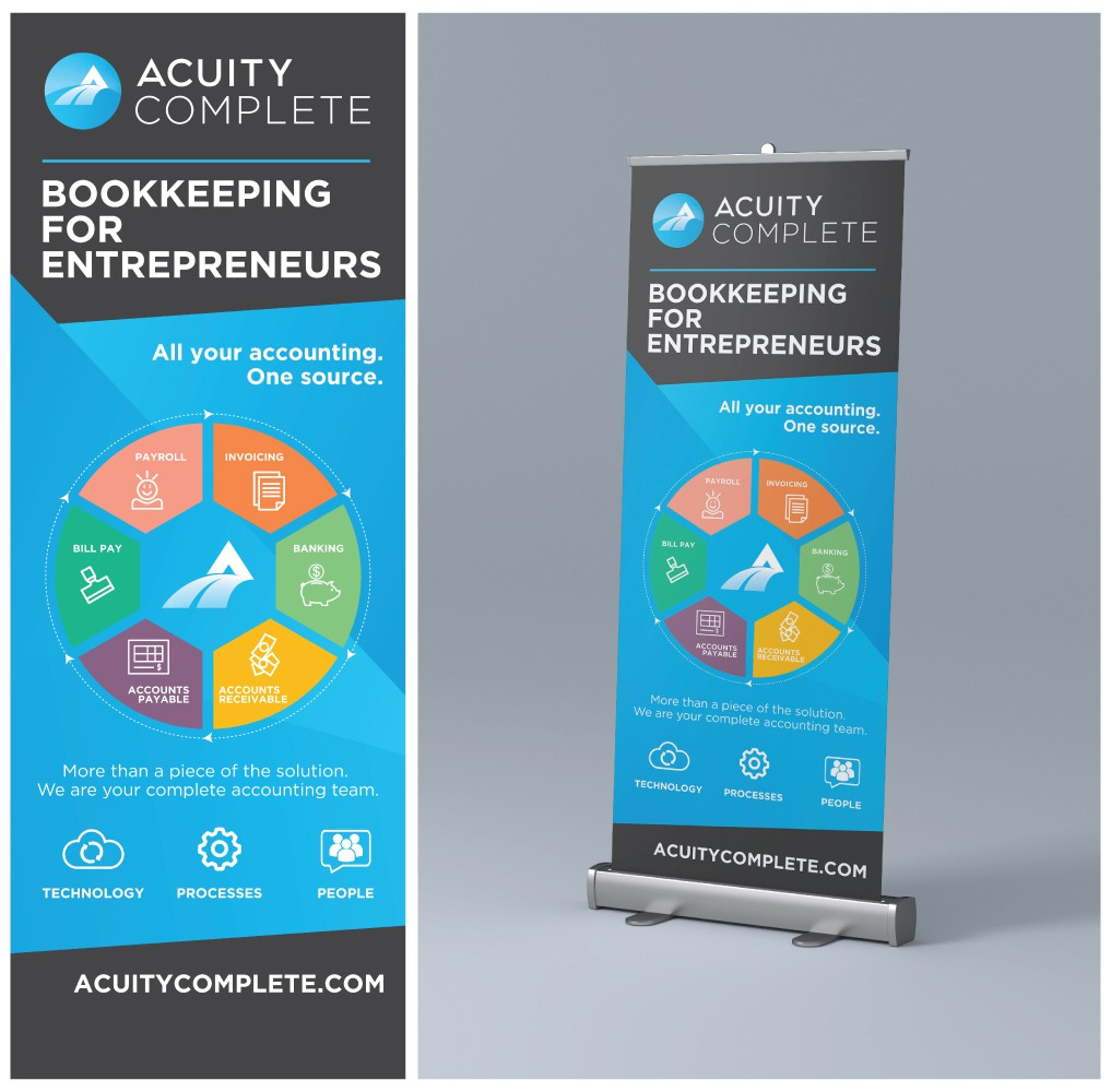 Hip Design Retractable Banner on Fast Deadline for Accounting Tech Company