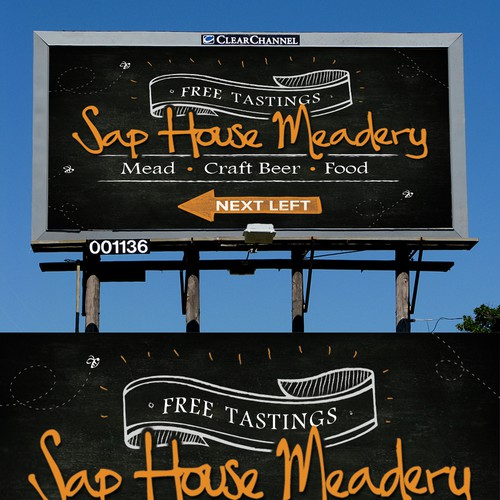 Create a billboard for a Meadery & Pub in a simple, clean style.