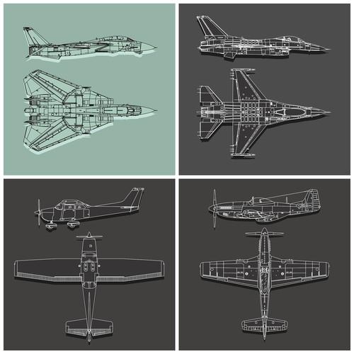 Design a series of classic aviation art prints