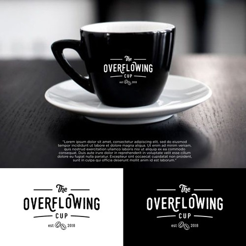 Vintage modern logo for The Overflowing Cup