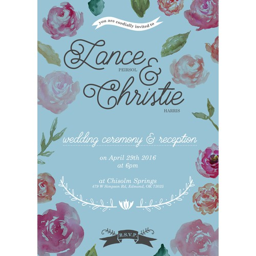 Wedding invite design for Lance & Christie