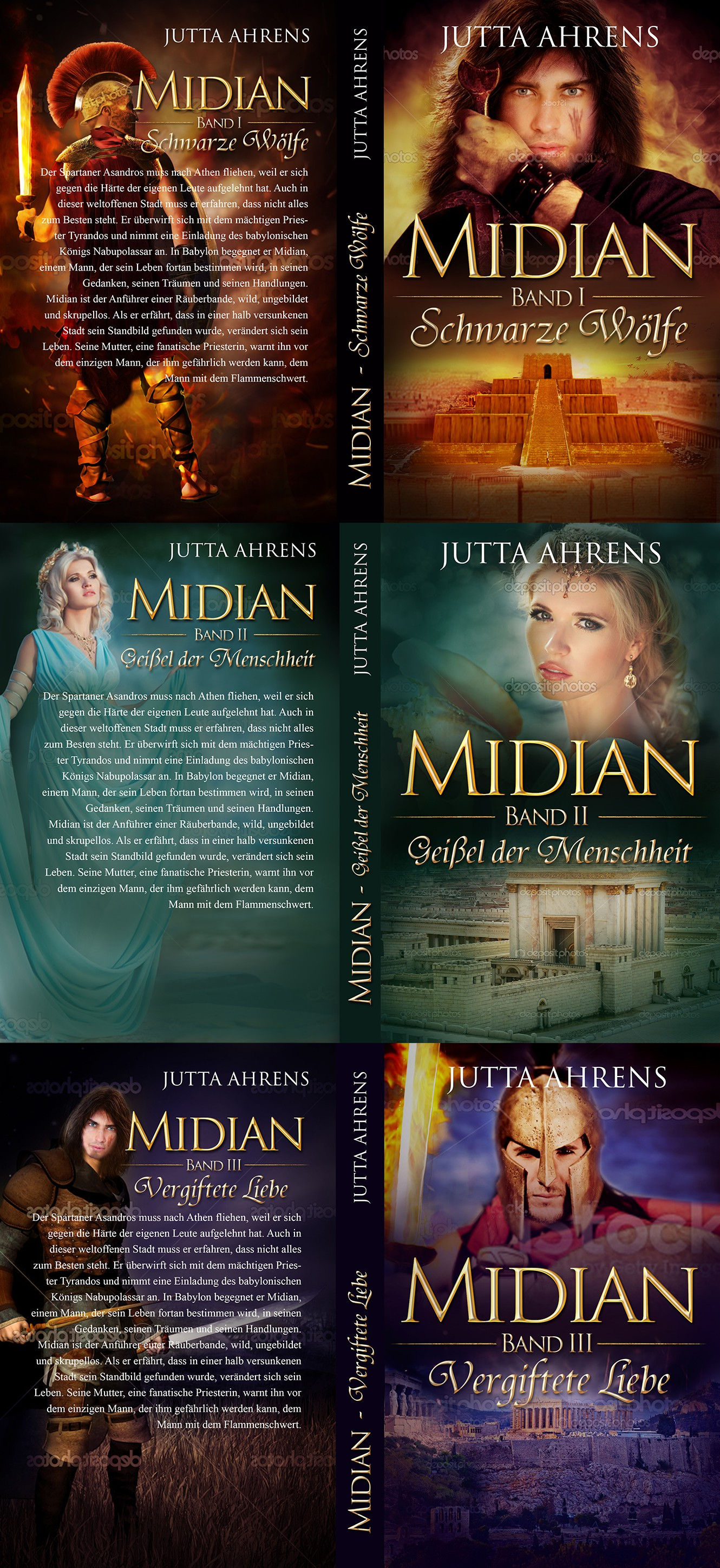 Book cover for a historical novel trilogy from the ancient Babylon, Israel and Greece.