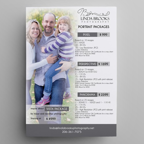 Photographer package promotions flyer
