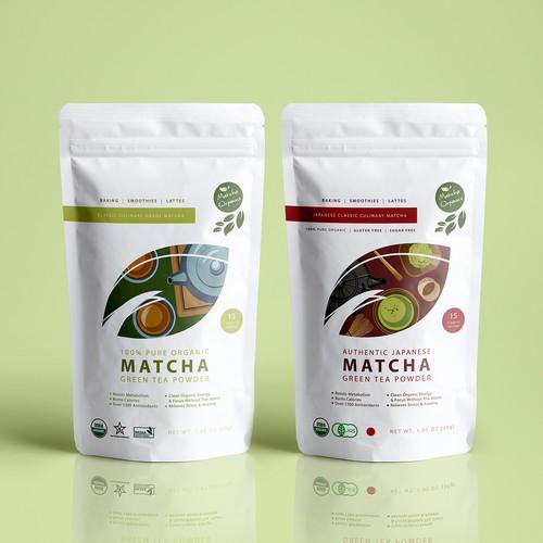 Modern Minimalistic Matcha Green Tea Pouch Design