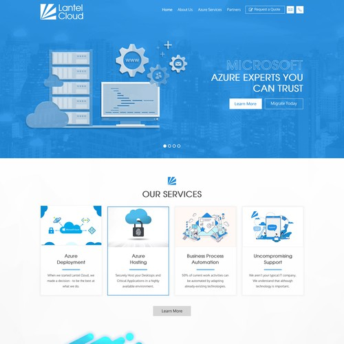 Web page design for lantel cloud