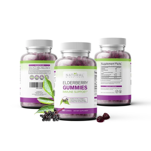 Mockup design for Elderberry Gummies Food Supplement package