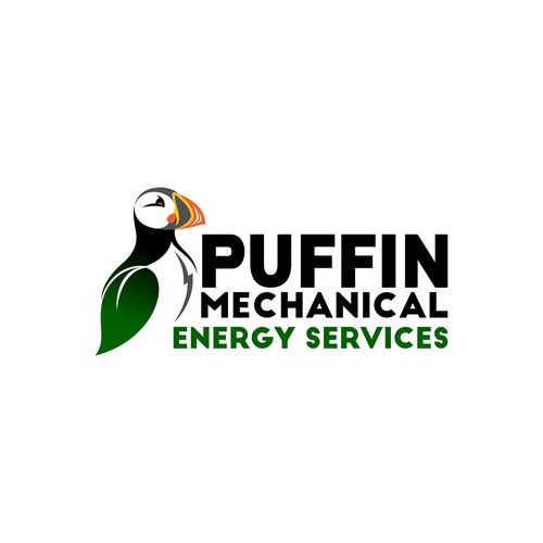 Design a bold logo for an Energy Saving company that has a Puffin as a mascot